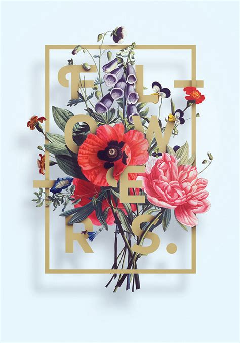 Poster Flowers 40 floral typography designs that combine flowers text