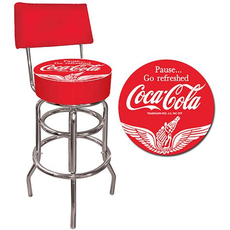 Coca Cola Bar Stool by Trademark Wings Coca Cola 40 Quot Pub Stool With Back Chrome