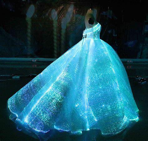 light up dress fiber optic fabric clothing luminous fiber optic wedding