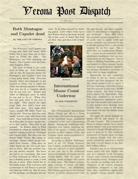 Romeo And Juliet News Report Essay by Romeo And Juliet Newspaper Article