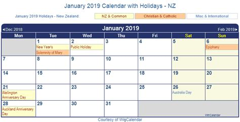 printable calendar 2014 new zealand january 2019 calendar with holidays 2018 calendar printable