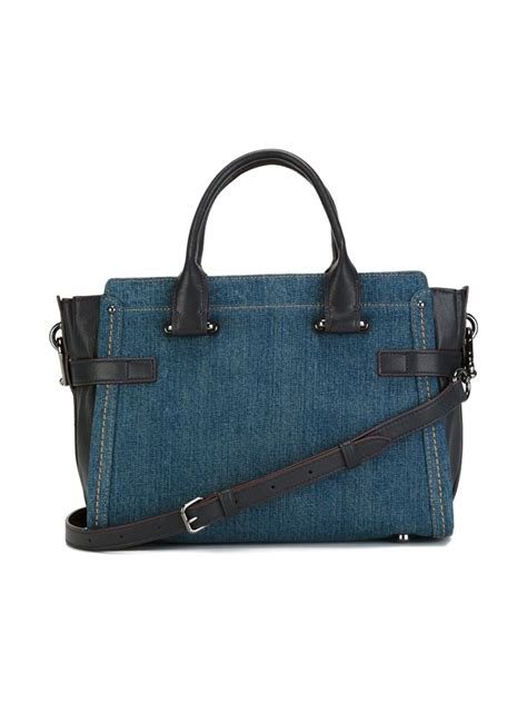 Coach Denim Satchel by Coach Denim Shoulder Bag In Blue Lyst