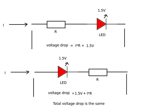 voltage drop at a resistor basic question about diode voltage drop and resistor position electrical engineering stack