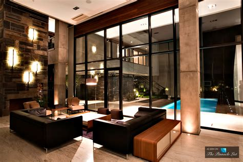 Modern Villa Living Room Nighttime Modern Elegance With Transparent Layers At Villa