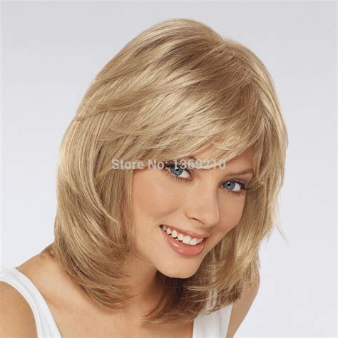 hairstyles with synthetic extensions amazing hairstyle medium length blonde color capless wigs