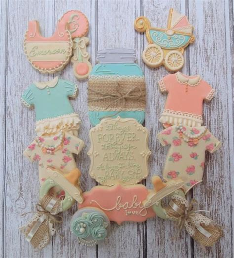 vintage style baby shower cookies by flourish baby