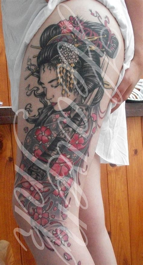 geisha tattoo with cherry blossoms tattoo geisha with sword cherry blossoms inspired by