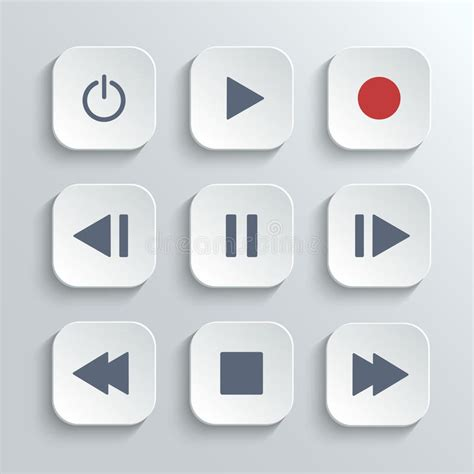 white house app media player control button ui icon set stock vector