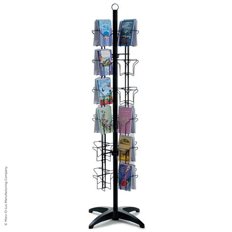 Postcard Display Rack by 48 Pocket Floor Greeting Card Display Spinner Rack Black