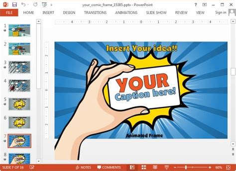 Comic Powerpoint Template historietas animadas con powerpoint