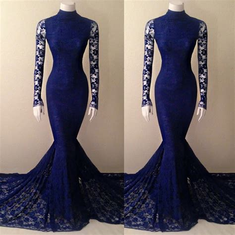 formal long sleeve lace prom dress navy blue lace mermaid high neck prom dress with long