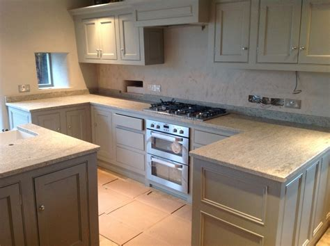 Cream Kitchen Designs by Leather Finish Kashmir White Granite
