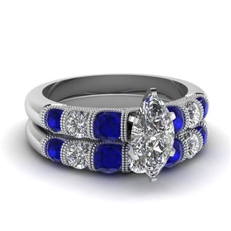 Marquise Milgrain Bar Diamond Wedding Set With Sapphire In 14K White Gold   Fascinating Diamonds