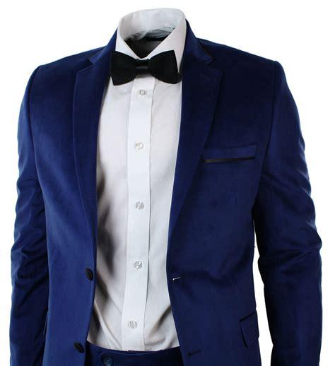 mens velvet slim fit blue suit blazer trouser bow tie