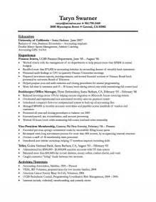 Finance Resume New Grad Entry Level