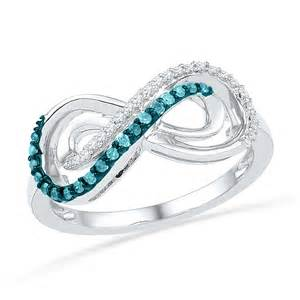 Blue Infinity Ring 1 5 Carat Sterling Silver Blue And White