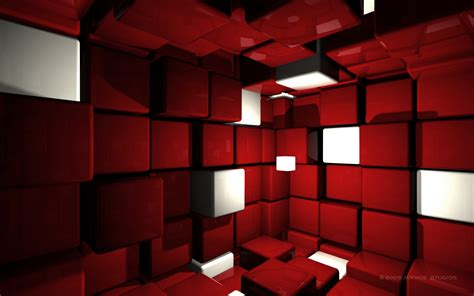 wallpaper games room cube room 3d abstract cube red room whit 1876 hd