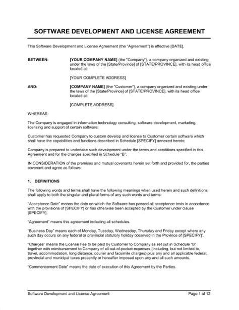Software Development And License Agreement Template Sle Form Biztree Com Software Developer Contract Template