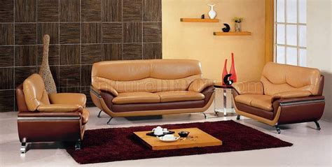 Two Tone Living Room Furniture Camel Brown Two Tone Leather Modern 3pc Living Room Set