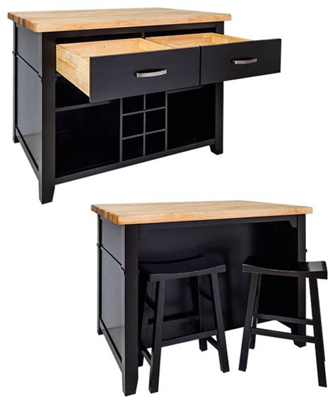 Kitchen Islands And Stools Delray Kitchen Island With Bar Stools Black Traditional Kitchen Islands And Kitchen Carts