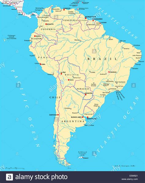 map of south america with cities south america political map with single states capitals