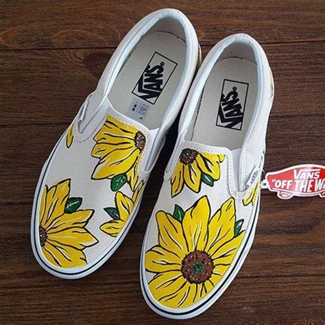 custom sunflower vans slip  shoes vans slip  shoes