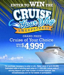 Free Cruise Sweepstakes - win the cruise your way sweepstakes seriously free stuff