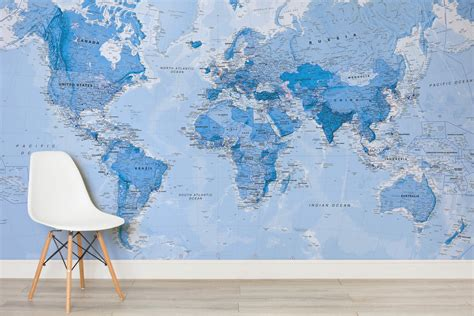 Uk Wall Murals shaded blue political map mural murals wallpaper