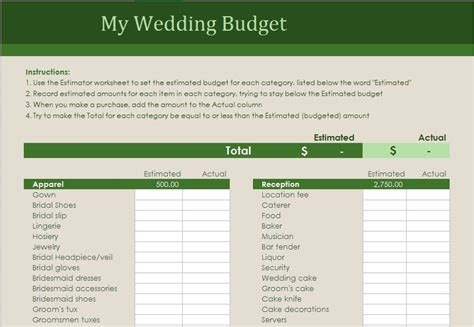 Wedding Budget Planner Excel by Wedding Budget Planner Excel Templates For Every Purpose