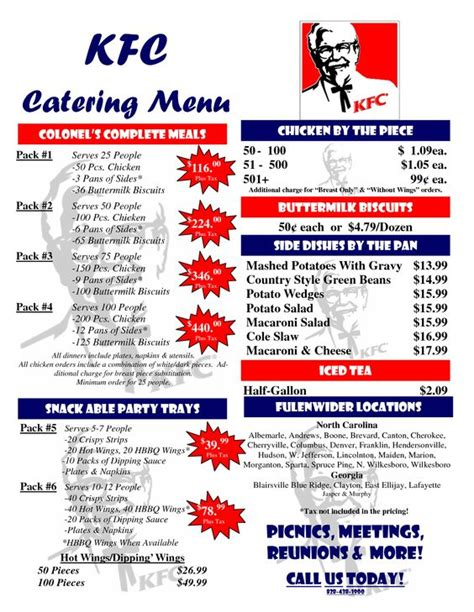 menu pricing template kfc catering menu prices scope of work template