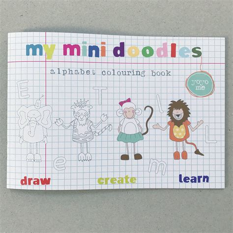 mini doodle book mini doodles alphabet colouring book by yoyo me