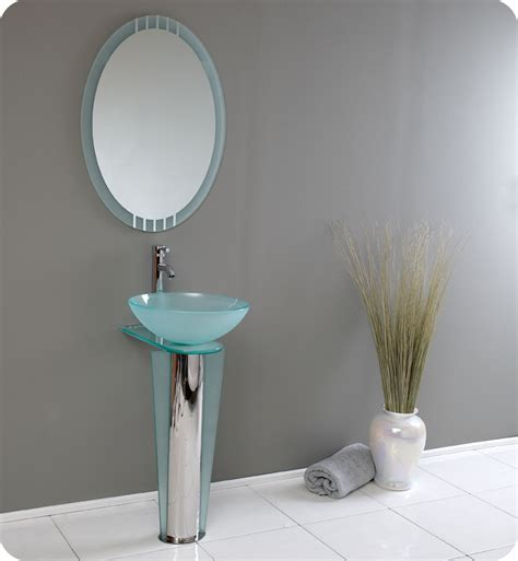 Modern Glass Bathroom Vanities Fresca Vitale Modern Glass Bathroom Vanity With Mirror
