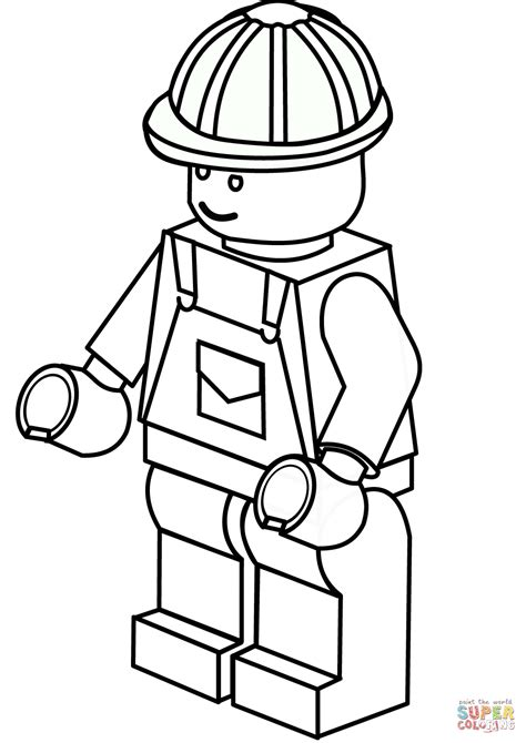 Legos Coloring Pages To Print by Lego Construction Worker Coloring Page Free Printable