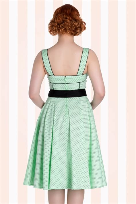 mint green swing dress 50s martie polkadot swing dress in mint green