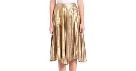 a l c gates pleated midi skirt in yellow lyst
