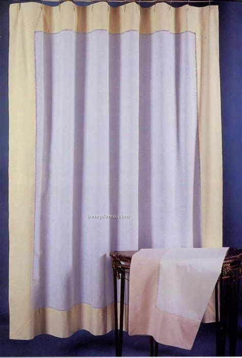 Handmade Shower Curtains - 72 quot x72 quot white linen handmade shower curtain with color