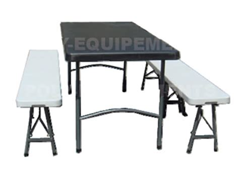 table et banc pliant en polypropylene