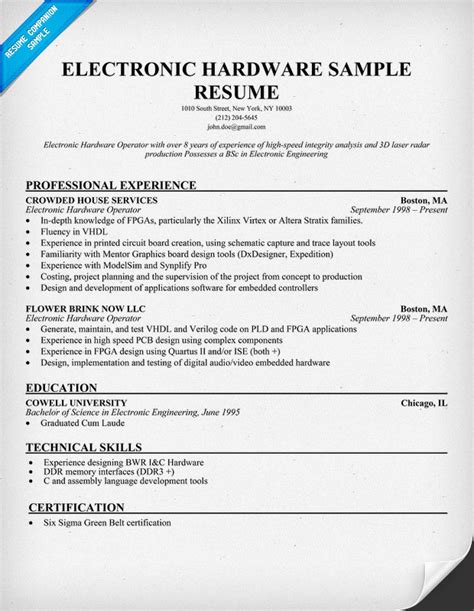 Resume Template Electronics Technician electronic hardware resume sle resumecompanion