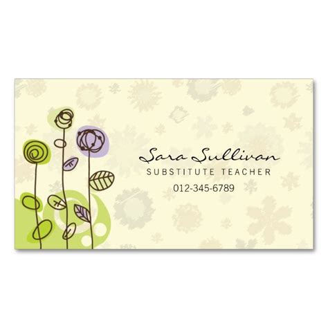substitute cards templates substitute business card doodle flowers the o