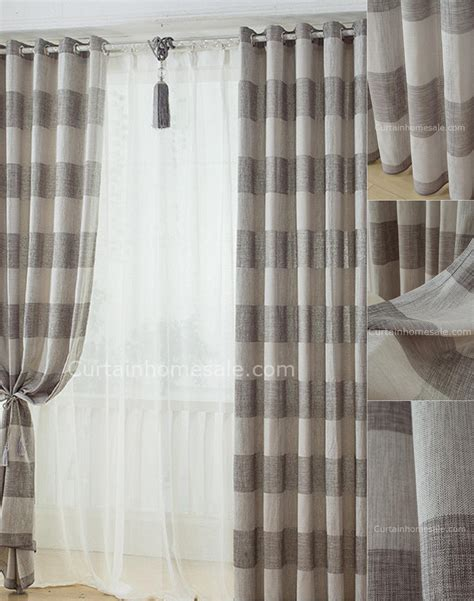 All Curtains Design Ideas Blinds Curtains Sun Zero Trey Striped Room Darkening Curtains With Brown Iron Rod On White