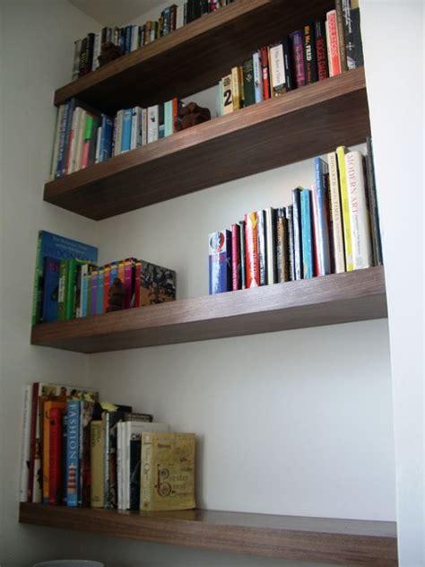 shelves in room kate eight floating shelves in walnut veneer contemporary living room by exploit