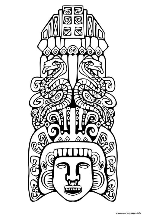 Adult Totem Inspiration Inca Mayan Aztec 2 Coloring Pages Mayan Coloring Pages