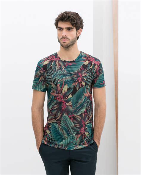 Preloved Zara Tshirt zara tropical allover tshirt in blue for lyst