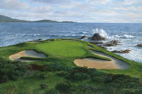 pebble beach original oil painting of pebble beach 7th hole one of the