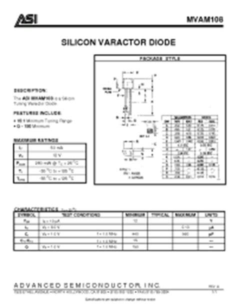 varactor diode doc mvam108 asi silicon varactor diode