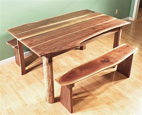 Rustic Walnut Dining Table Walnut Dining Room Live Edge Rustic Table Bench Set By Treeartisan