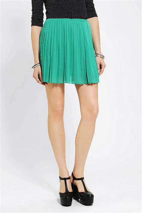 chiffon pleated mini skirt outfitters sparkle fade pleated chiffon mini skirt
