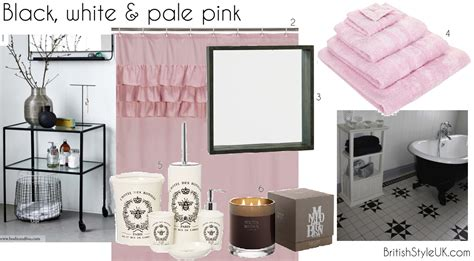 pale pink bathroom accessories black white pale pink