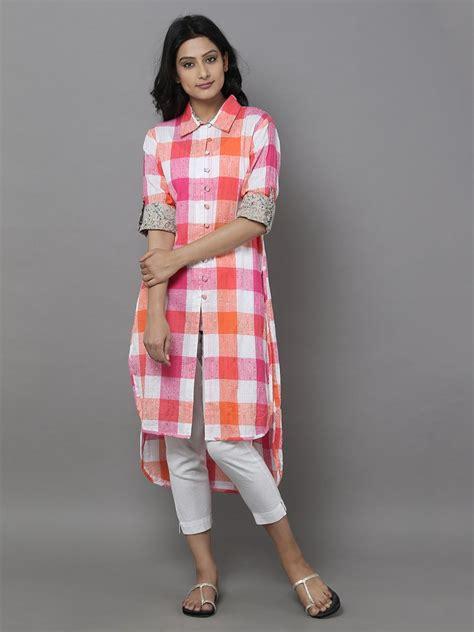 cotton printed bell sleeves long kurta salwar patterns pink off white cotton check shirt stylista salwars