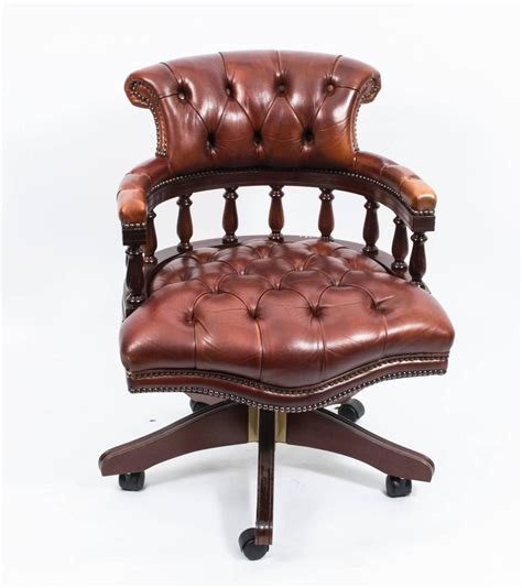 Handmade Leather Chairs - handmade leather captains desk chair chagne for